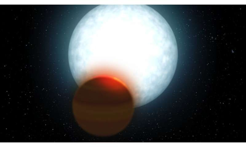 The atmosphere of a new ultra hot Jupiter is analysed