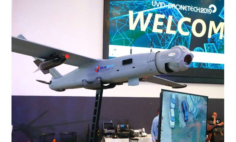 The BlueBird ThunderB on show at the recent International Conference and Exhibition on Unmanned Systems at Israel's Airport City