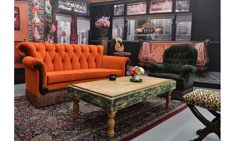 "The Central Perk coffee house set from ""Friends"" is on display in New York as part of a temporary exhibition marking t"