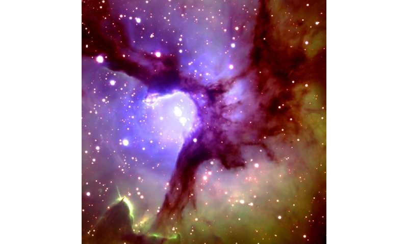 The central region of the Trifid Nebula is shown in this photo taken by the Gemini North 8-meter Telescope on Mauna Kea