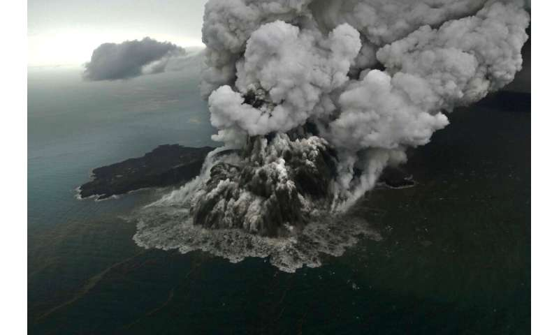 The crater of the Anak Krakatau volcano partly collapsed after its eruption with parts of it sliding into the ocean and triggeri