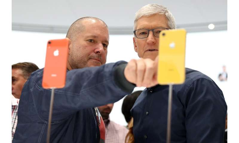 The departure from Apple of chief design officer Jony Ive (L), seen with CEO Tim Cook, raises questions about the future course