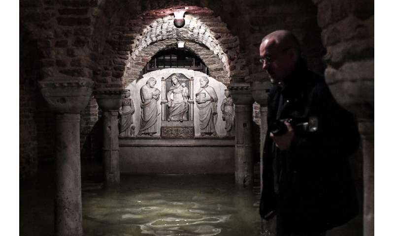 The flooded crypt of St. Mark's Basilica