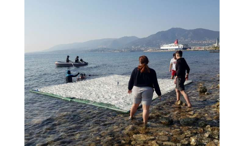 The frames are part of an experiment to determine if seaborne litter can be detected with EU satellites and drones