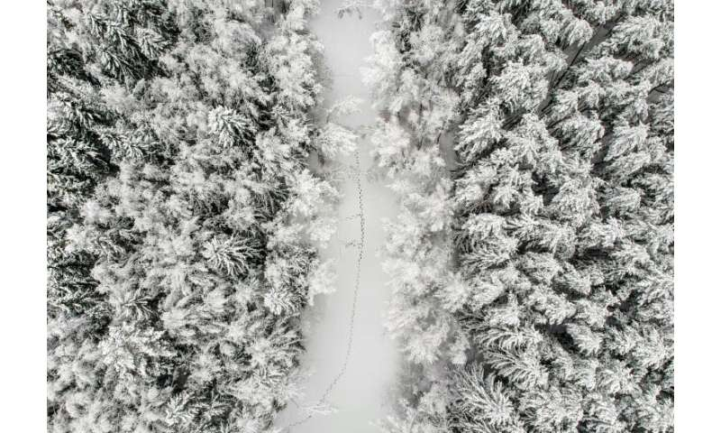 The heavy snowfall hit the whole of central Russia, including the village of Troitskoye outside Moscow.