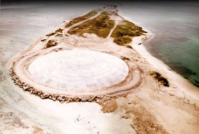 The huge dome built over top of a crater left by one of the nuclear nuclear tests over Runit Island in Enewetak in the Marshall