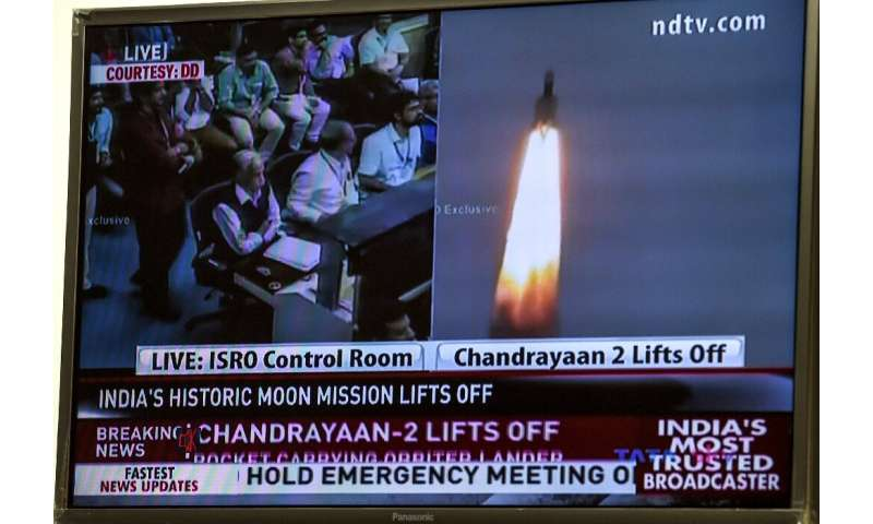 The launch of Chandrayaan-2, or Moon Chariot 2, was broadcast live on TV