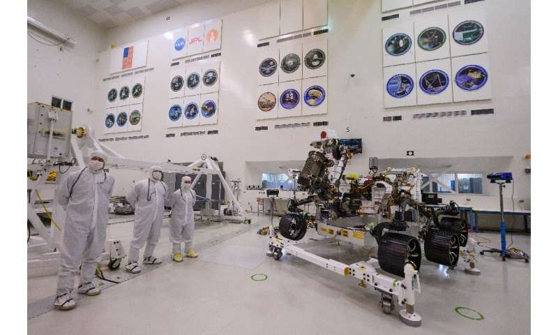 The Mars 2020 rover's driving equipment was given its first test inside a large, sterile room at the Jet Propulsion Laboratory i