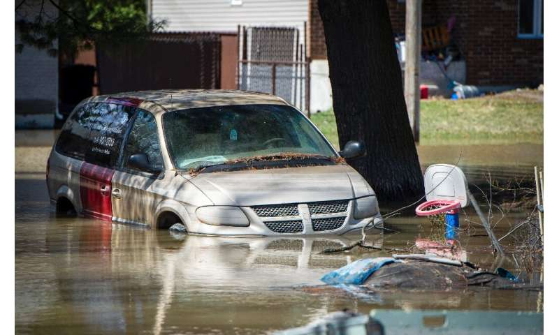 The Montreal suburb of Sainte-Marthe-sur-le-Lac, Quebec province, was the hardest-hit area in the late April flooding in Canada