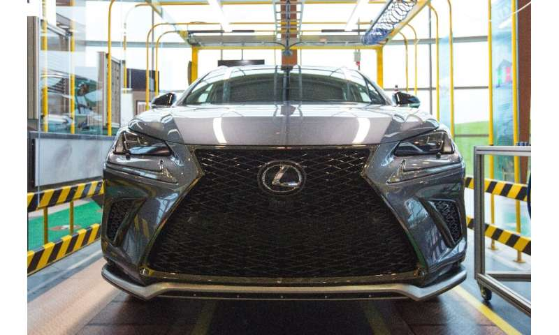 The new Lexus NX luxury SUV is unveilded at the Toyota Cambridge plant in Cambridge, Ontario, on April 29, 2019