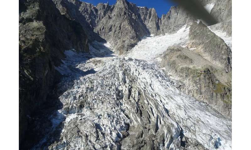 The Planpincieux glacier, on the Grandes Jorasses peak of the Mont Blanc massif, melted more than usual in the late-summer heat