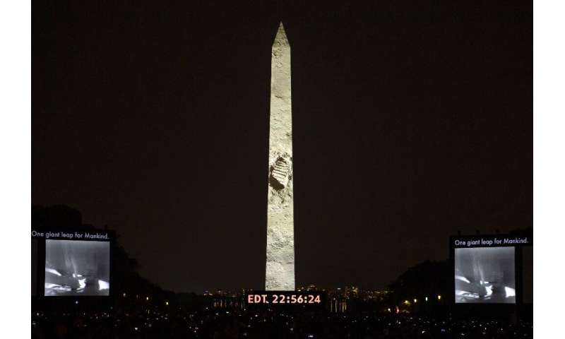 "The ""Apollo 50: Go for the Moon"" show, combining full-motion projection mapping artwork on the Washington Monument and"