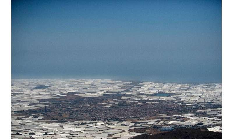 El `` Mar de plástico '', unas 30.000 hectáreas de invernaderos en el sureste de la provincia de Almería, España, produce gran parte de E