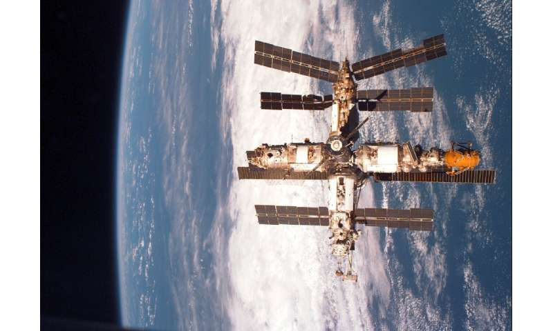 The Soviet-Russian space station Mir, which orbited the Earth from 1986 to 2001