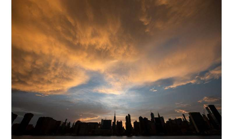 The sun sets behind the skyline of midtown Manhattan in New York City—rather than falling, the world's carbon dioxide grew two p