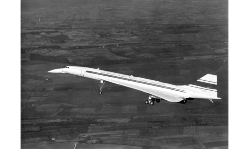 The supersonic jet the Concorde pictured in the sky above Toulouse in France during its inaugural test flight on March 2, 1969
