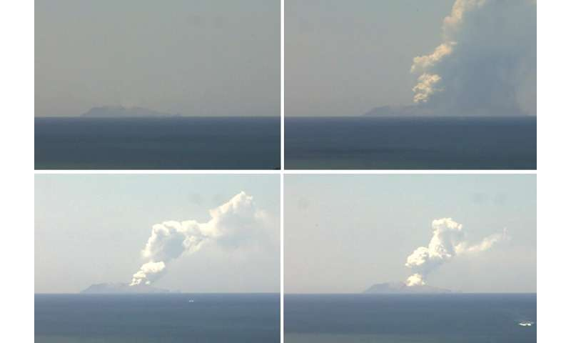 This combination of handout images from a webcam belonging to the Institute of Geological and Nuclear Sciences shows the volcano