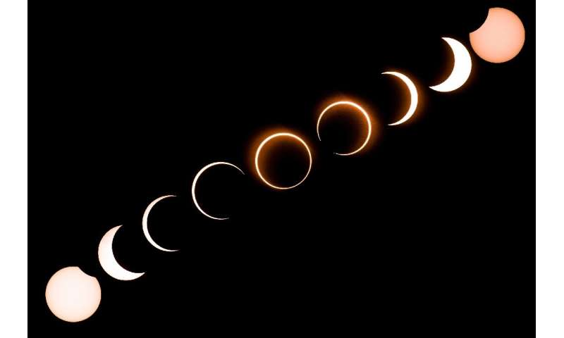 "This composite image shows the moon moving in front of the sun in a rare ""ring of fire"" solar eclipse as seen from Tan"