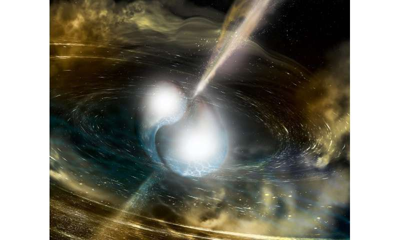 This illustration released by the US National Science Foundation shows two merging neutron stars that generated gravitational wa