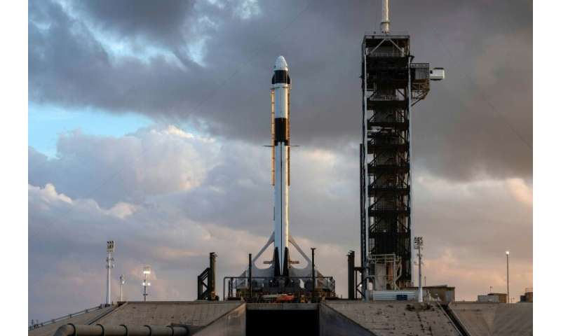 This image courtesy of SpaceX and obtained from NASA shows, the SpaceX Falcon 9 rocket and Crew Dragon spacecraft rolled out to