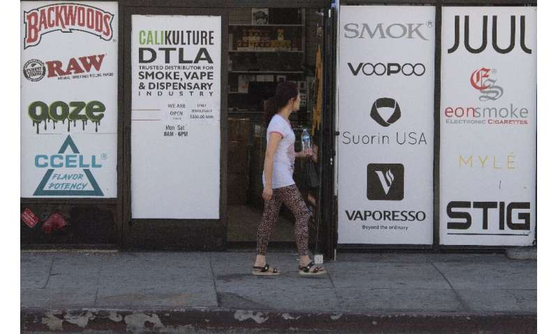 This Los Angeles vaping store advertises the main brands offered by the e-cigarette industry