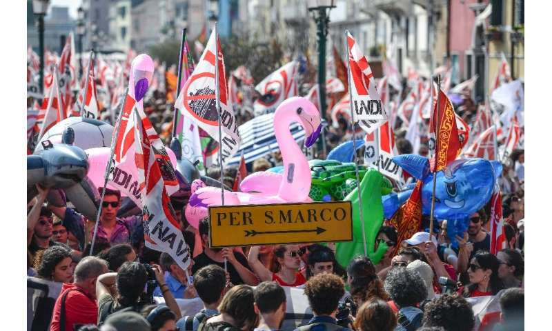 Thousands took to the streets in Venice calling for a ban on huge cruise ships in the city