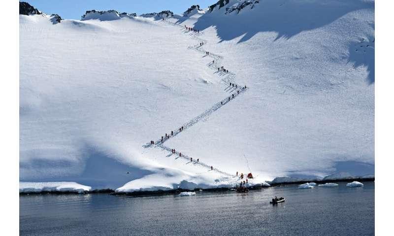Tourists visit Orne Harbur in South Shetland Islands, Antarctica