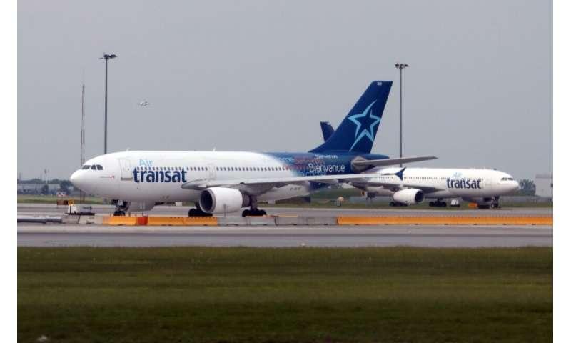 Un avion de la compagnie canadienne Air Transat, le 1er juin 2018 à l'aéroport Trudeau de Montréal
