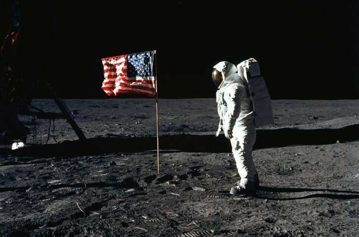 """US astronaut Edwin """"Buzz"""" Aldrin stands on the moon on July 20, 1969 during the Apollo 11 mission"""