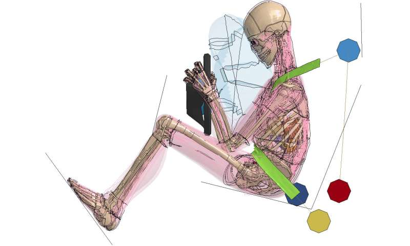 Virtual human body models supplement crash-test dummies
