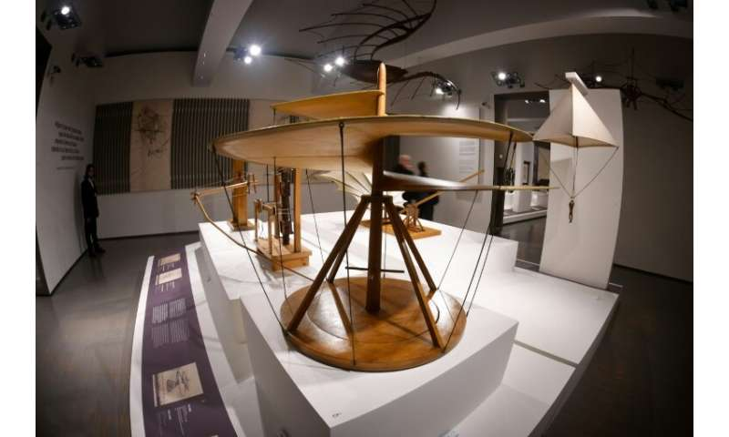 "Visitors will be able to see a reproduction of da Vinci's ""Vite Aerea"" (Aerial Screw, 1487-1490) at the Scuderie del Q"