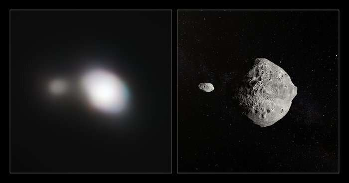 VLT observes a passing double asteroid hurtling by Earth at 70 000 km/h