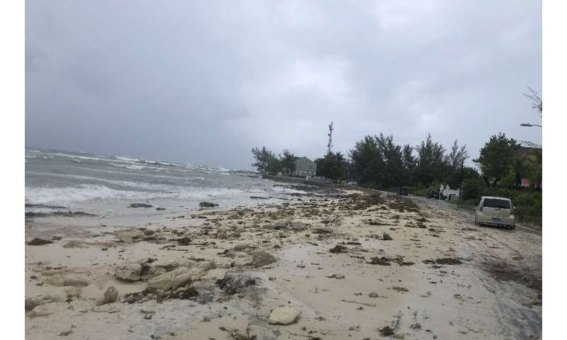Waves picking up in Nassau as Hurricane Dorian approached the Bahamas on September 1, 2019
