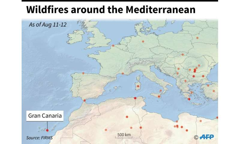 Wildfires around the Mediterranean