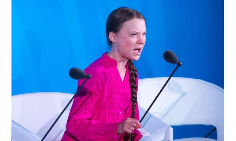 Youth climate activist Greta Thunberg speaks during the UN Climate Action Summit on September 23, 2019 at the United Nations Hea