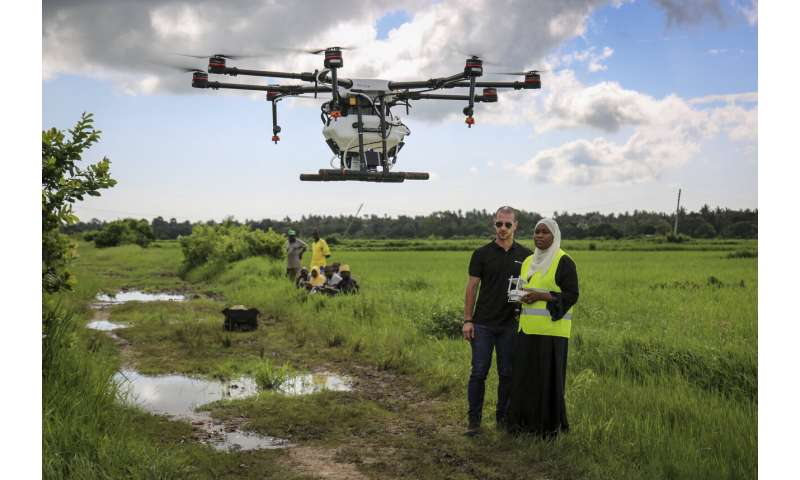 Zanzibar tests drones spraying rice fields to fight malaria