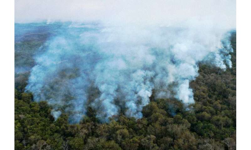 Aerial view showing large scale forest fires in Pocone, Pantanal region, Mato Grosso State, Brazil on Ausgust 1, 2020