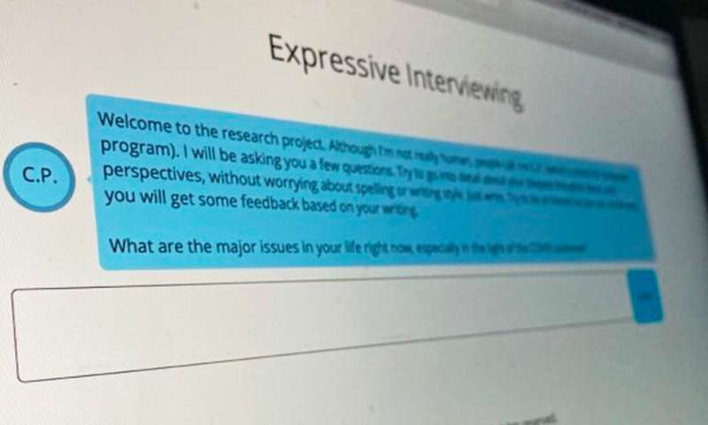 AI-powered interviewer provides guided reflection exercises during COVID-19 pandemic