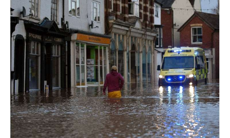A record 594 flood warnings and alerts were in place Storm Dennis swept across Britain