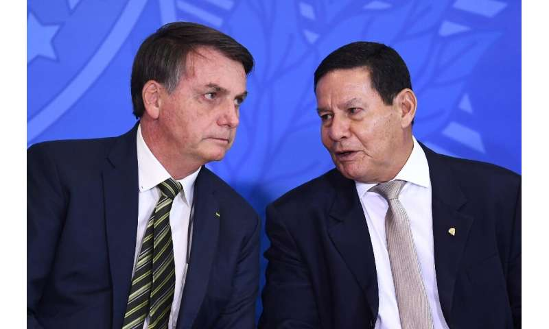 Brazilian President Jair Bolsonaro (L) and his Vice President Hamilton Mourao, photographed on April 29, 2020