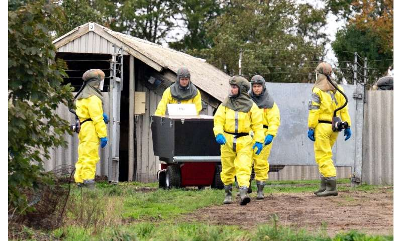 Employees from the Danish Veterinary and Food Administration and the Danish Emergency Management Agency wearing PPE arrive in Oc