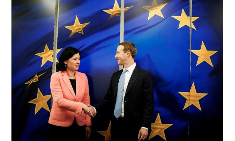 European Commission vice-president in charge for Values and Transparency Vera Jourova (L) has been an outspoken critics of tech