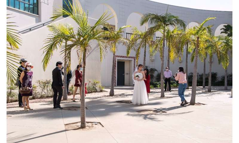 Facemasks and social distancing will forever be on this couple's wedding photographs to mark their Beverly Hills ceremony