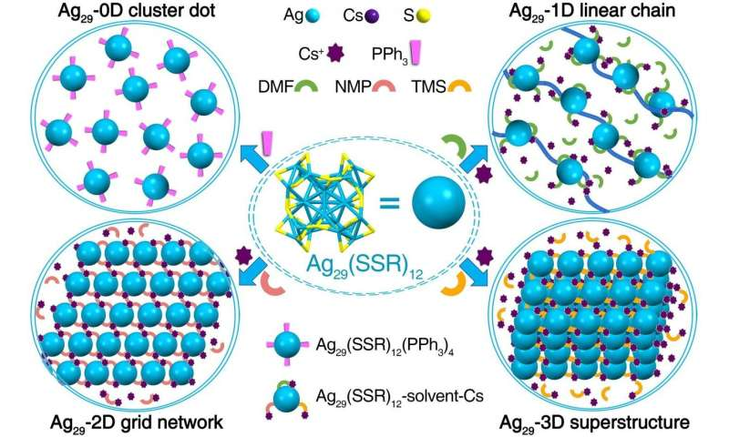 Hierarchical self-assembly of atomically precise nanoclusters