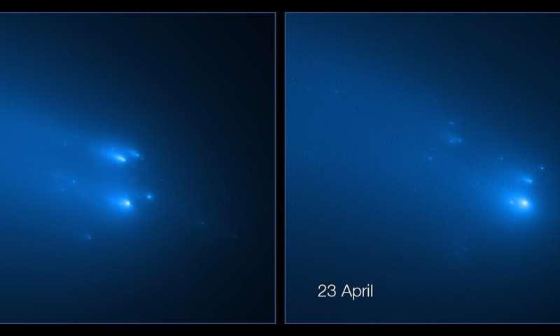 Hubble captures breakup of comet ATLAS