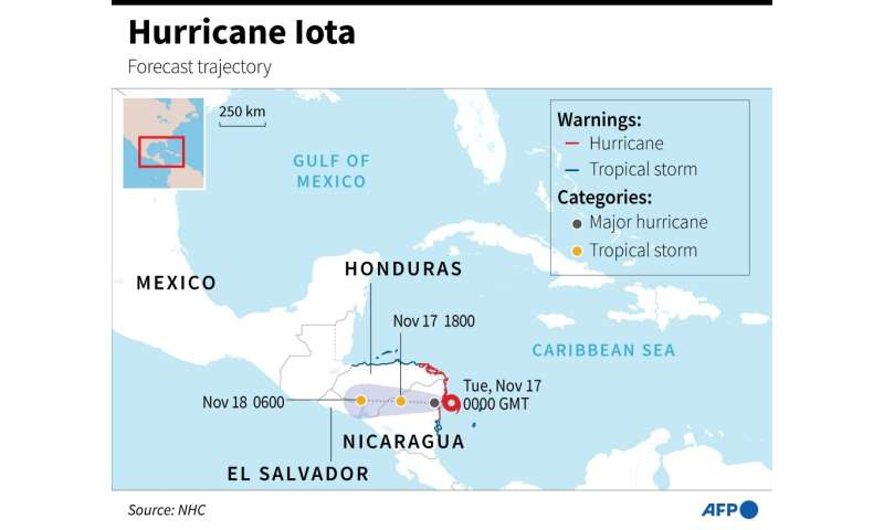 Map showing the location and projected path of Hurricane Iota
