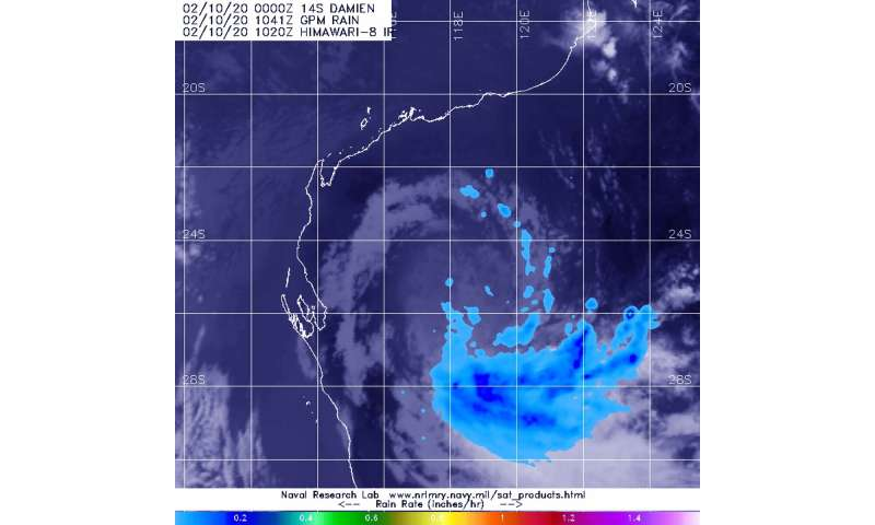 NASA analyzes ex-Tropical Cyclone Damien's rainfall in Western Australia