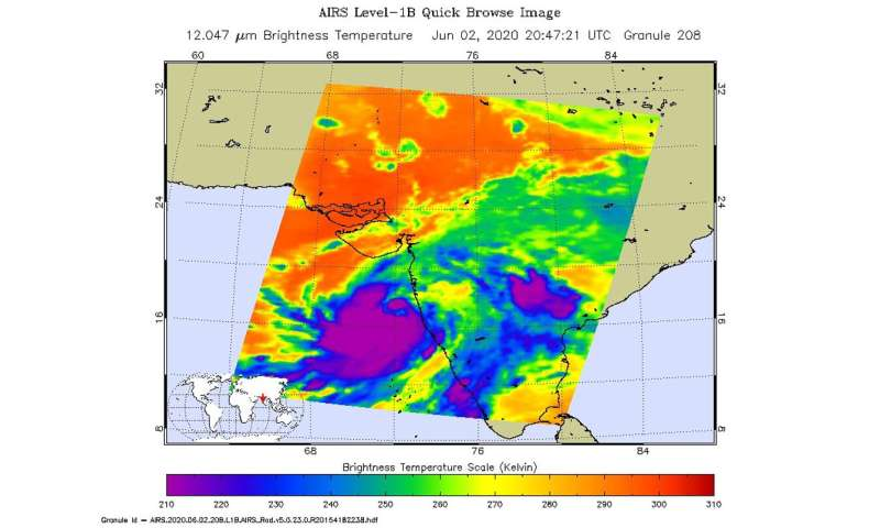 NASA infrared data shows Tropical Cyclone Nisarga strengthened before landfall
