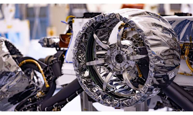NASA's perseverance Mars rover gets its wheels and air brakes