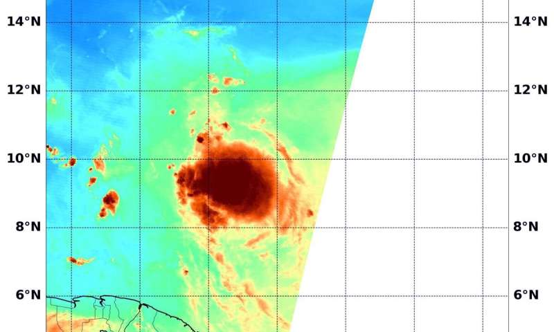 NASA Water vapor data reveals Tropical Storm Gonzalo's soaking capability